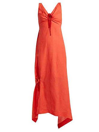 Preen Felicity Drawstring Detailed Linen Dress - Womens - Red