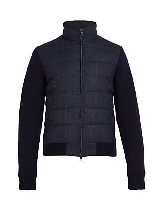 Herno Quilted Panel Wool Bomber Jacket - Mens - Navy