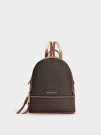 521f39303f58 Michael Michael Kors Rhea Zip Medium Backpack in Brown Canvas