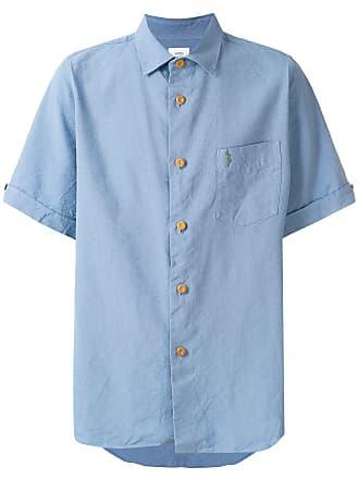 Visvim Camisa de linho e seda mangas curtas - Azul