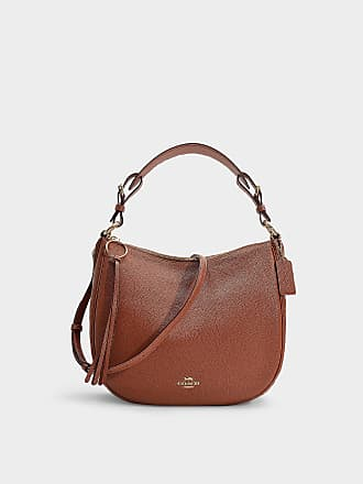 fb1d1334cc Coach Polished Pebble Leather Sutton Hobo Bag in Brown Calfskin