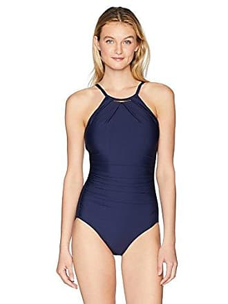 04c9dd1d086bc Calvin Klein Womens Solid high Neck Pleated one Piece Swimsuit, Navy, 10