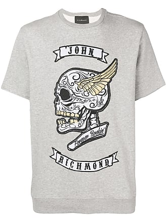 John Richmond Camiseta com logo bordado - Cinza