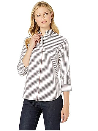 cae5323fc Ralph Lauren No-Iron Button Down Shirt (White/Lipstick Red Multi) Womens