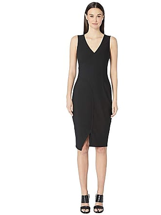 Yigal AzrouËl Sleeveless One-Side Off Shoulder Mechanical Stretch (Black) Womens Dress