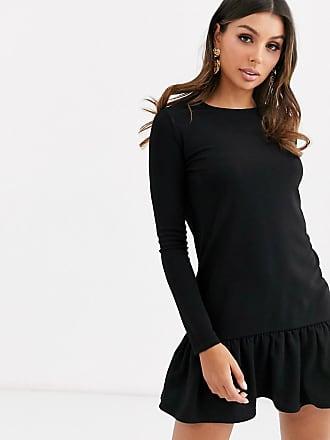 Missguided Schwarzes Kleid mit abfallendem Saum