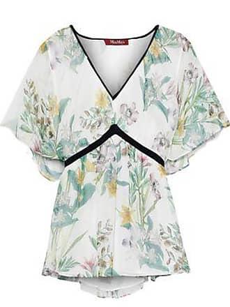 Max Mara Max Mara Woman Pier Tie-back Floral-print Silk-chiffon Blouse Off-white Size 42