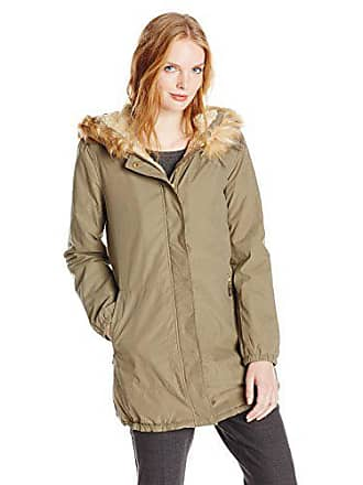 Ellen Tracy Outerwear Womens Microfiber Parka with Faux Fur Hood, Olive, Large