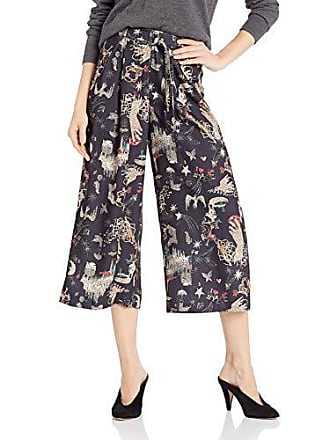 Nicole Miller Womens Cropped Wide Leg Pant, Black Multi Graphic, S