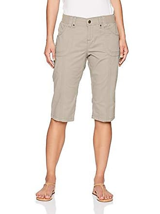 Lee Womens Petite Relaxed Fit Lyric Knit Waist Cargo Capri Pant, Palisade Taupe 8