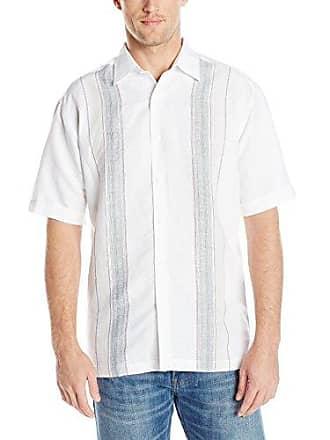 70f1a712 Havanera Co. Mens Yarn Dye Engineered Panel Short Sleeve Woven Shirt,  Bright White,