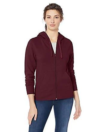 Amazon Essentials Womens French Terry Fleece Full-Zip Hoodie, Burgundy, Small