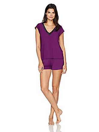 Maidenform Womens Dried Botanicals Satin Trim V-Neck Shirt Short Set, Charisma, Small