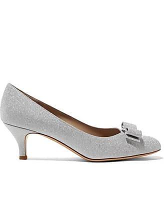 7ca19ed2b8 Salvatore Ferragamo Carla Bow-embellished Glittered Leather Pumps - Silver