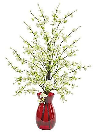 Nearly Natural 1777-WH Cherry Blossom Artificial Ruby Vase Silk Arrangements White