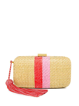 Kayu Florence Striped Straw Clutch Natural/pink/red