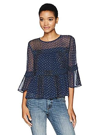 Lucky Brand Womens Shirred Peasant Top, Navy Multi, X-Small