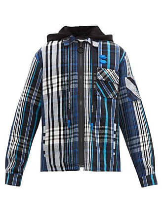 df5ba68d7 Off-white Off-white - Checked Cotton Blend Hooded Overshirt - Mens - Black