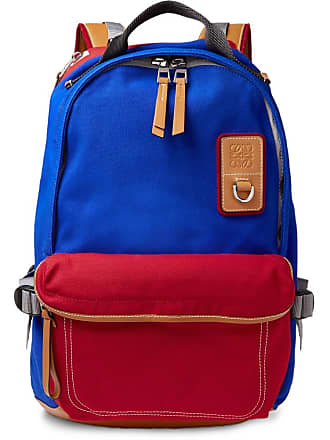 eye/LOEWE/nature Leather-trimmed Canvas Backpack - Blue