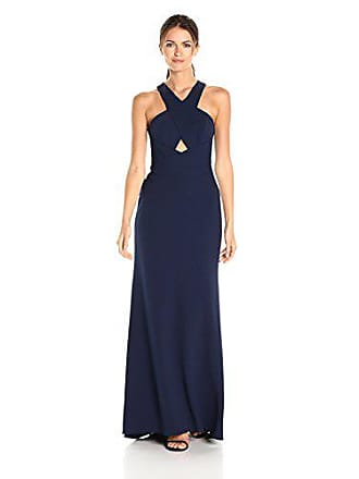 Bcbgmaxazria BCBGMax Azria Womens Salome Cross Over Halter Woven Evening Dress, Navy, 4