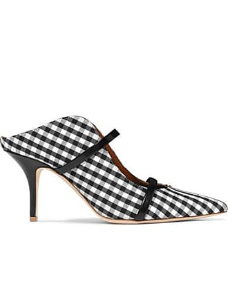 Malone Souliers Maureen 70 Leather-trimmed Gingham Canvas Mules - Black