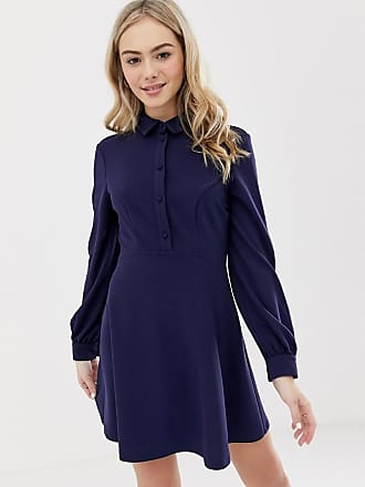 Asos mini shirt dress with self-covered buttons - Navy