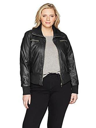Yoki Womens Plus Size Sherpa Lined Pu Jacket, Black 3X