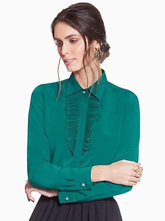 Principessa Camisa Social Verde com Plissados Principessa Milena