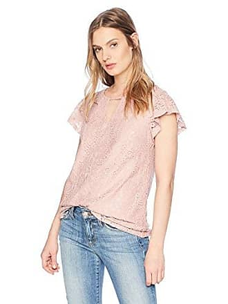 a4b959c4a967be Adrianna Papell Womens Flutter Sleeve Notch Neck lace Blouse, Almond Buff,  XLarge