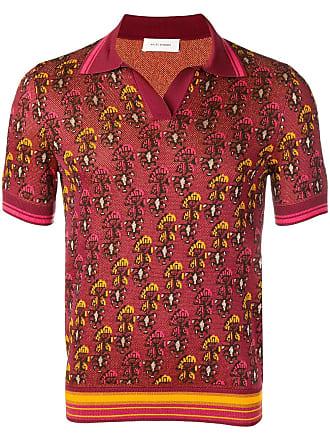 Wales Bonner Camisa polo de jacquard - Vermelho