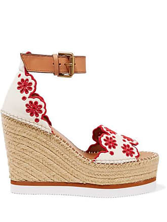 See By Chloé Embroidered Laser-cut Suede And Leather Espadrille Wedge Sandals - White