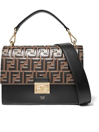 913c4b239 Fendi Kan I Large Embossed Leather Shoulder Bag - Black