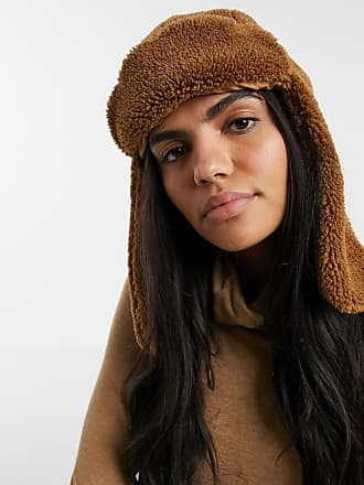 Warehouse faux shearling trapper hat in brown