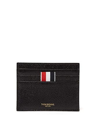 Thom Browne Tricolour Trimmed Textured Leather Card Holder - Mens - Black