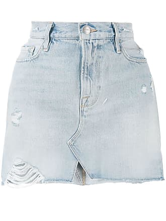 Frame Denim distressed mini denim skirt - Azul