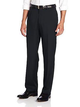 Haggar Mens Solid Gabardine Hidden Expandable Straight Fit Plain Front Pant,Navy,42x30