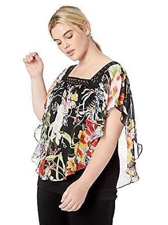 AGB Womens Plus Size Popover Top with Crochet Neckline, Multi Etched Floral, 1X