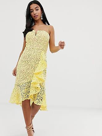 55d75bbfe5528f Jarlo all over lace square neck ruffle mini dress in lemon