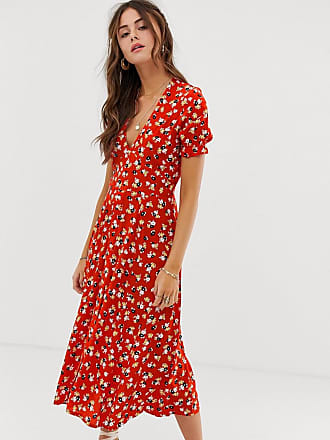 3cf0c814d71 Faithfull The Brand Faithfull - Ari - Robe mi-longue à fleurs - Rouge