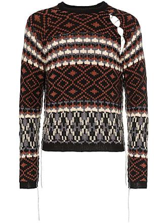 Raf Simons Fairisle cutout mohair wool blend jumper - Black