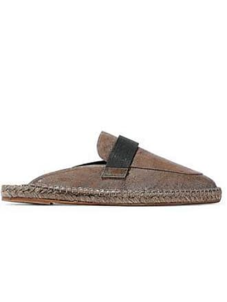 f16164493f9 Brunello Cucinelli Brunello Cucinelli Woman Bead-embellished Leather  Slippers Brown Size 36