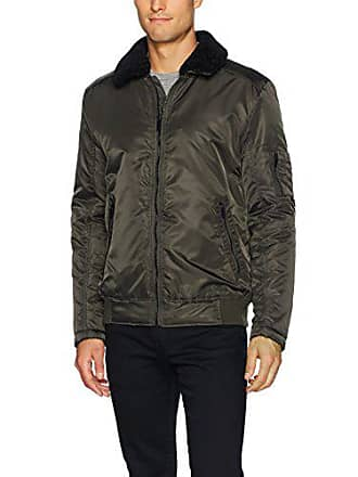 Kenneth Cole Mens Aviator Jacket with Removable Faux Sherpa Collar, Olive, Small