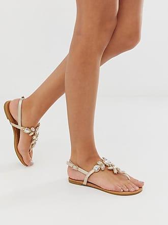 Qupid Qupid embellished flat sandals - Gold