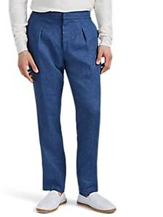 55aef82f5 Ralph Lauren Purple Label Mens Slub Linen Pleated Trousers - Blue Size 34