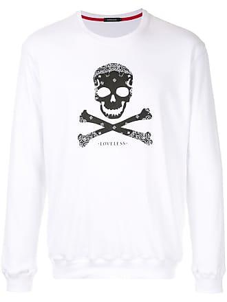 Loveless Blusa de moletom Skull and Crossbones - Branco