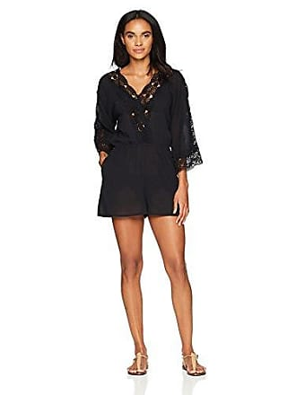 La Blanca Womens V-Neck Lace Romper Cover Up Dress, Black, Extra Small