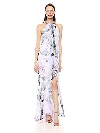 Calvin Klein Womens Halter Neck Gown with Draped Front & Beading, Opal Multi, 14