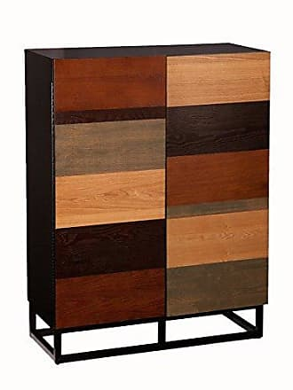 Southern Enterprises Multi Tone Bar Cabinet - Mixed Wood Finishes - Fixed Shelves w/Wine Compartments
