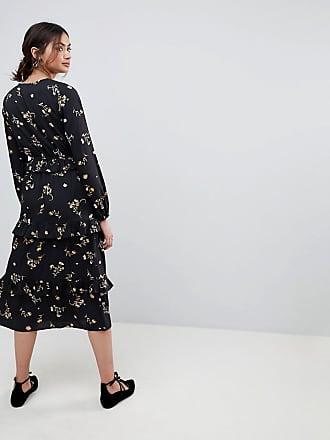 8f1cd1ef0f83 Influence Tall Floral Midi Dress With Tiered Hem - Black