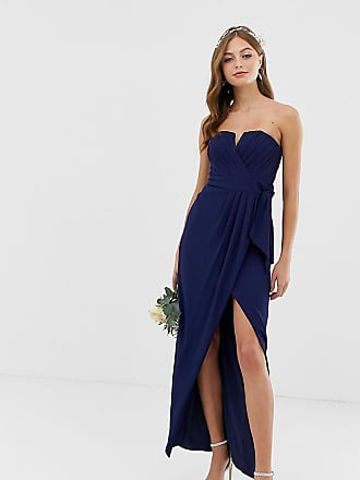 Tfnc bridesmaid exclusive bandeau wrap midaxi dress with pleated detail in navy - Navy